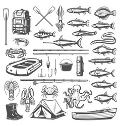 Fishing equipment tackle and fish icons vector