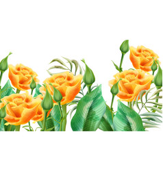 Floral composition yellow roses rosebuds and vector