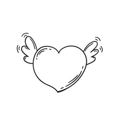 flying heart with wings in doodle style template vector image