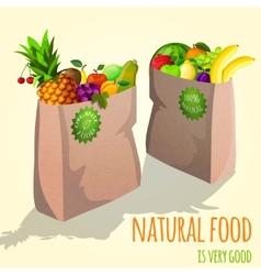 Fruits in paper bag print vector