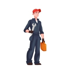Full length portrait of young and handsome plumber vector