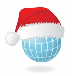globe with Santa's hat vector image