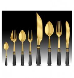 Gold tableware's vector