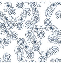 hand drawn vintage motorcycle seamless pattern vector image