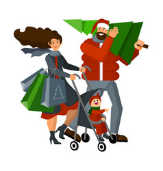 happy family with a child returns home with a vector image
