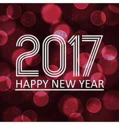 Happy new year 2017 on dark bokeh circle vector