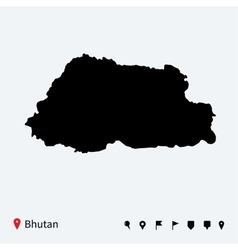 High detailed map of Bhutan with navigation pins vector