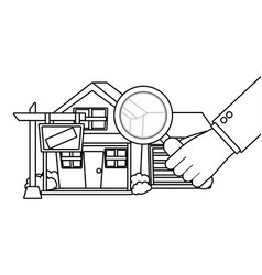 House with magnifying glass vector