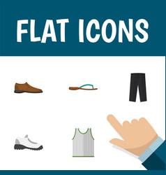 icon flat clothes set of man shoe gumshoes vector image