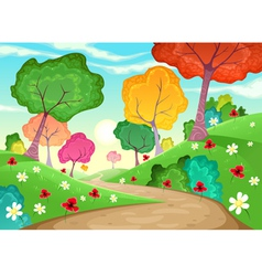 Landscape with multi-colored trees vector image