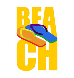 lgbt beach sign slippers rainbow of color summer vector image