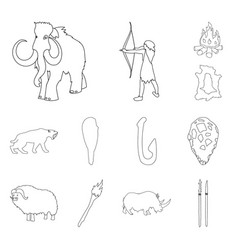 Life in the stone age outline icons in set vector