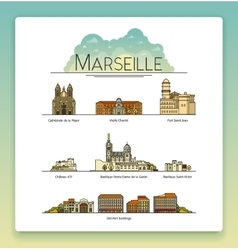 line art marseille france travel icon set vector image