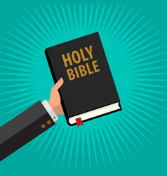 Man hold holy bible in his hand vector