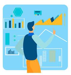 Market analytics report flat vector