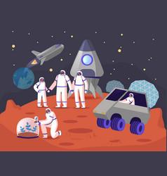 Mars colonization concept astronauts family vector