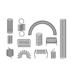 metal spring set a twisted spiral elongated vector image