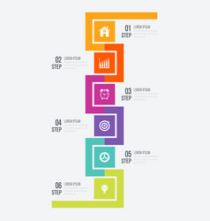 Modern infographics six square process template vector
