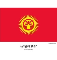 National flag of Kyrgyzstan with correct vector image