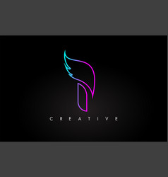Neon i letter logo icon design with creative wing vector