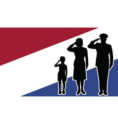 Netherlands soldier family salute vector image