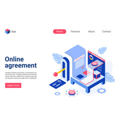 online agreement isometric landing page vector image