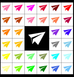 paper airplane sign felt-pen 33 colorful vector image