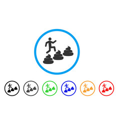 Person climbing shit levels icon vector