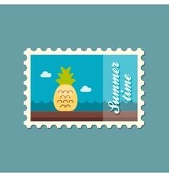 Pineapple flat stamp summertime vector