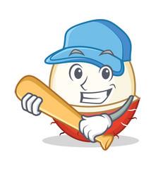 Playing baseball rambutan character cartoon style vector