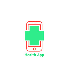 red thin line phone like simple health app logo vector image
