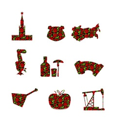 Russia symbol set Russian national sign painted vector image