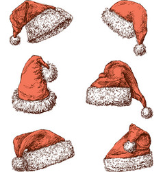 Santa claus hats vector
