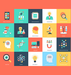 Science and technology flat icons vector
