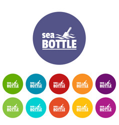 Sea bottle icons set color vector