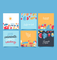 set creative summer square cards placard vector image