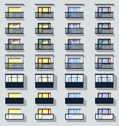 Set different types of balconies vector image