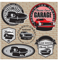 set emblems with retro car on wall vector image