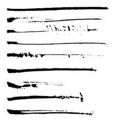 Set of black ink brushes vector image