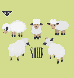 sheep a selection of flat cute animal vector image