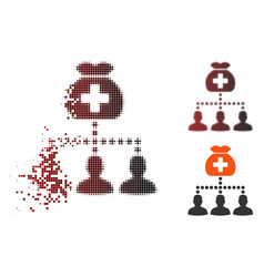 shredded pixel halftone medical fund clients icon vector image