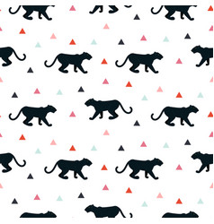Silhouette of leopard seamless white pattern vector