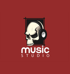 skull with headphones logo design template vector image