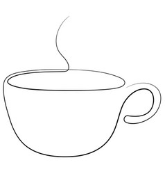 Steaming teacup continuous line one line tea or vector