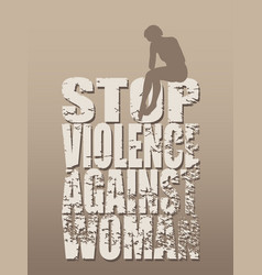 Stop violence against woman social concept vector