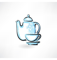 tea service grunge icon vector image