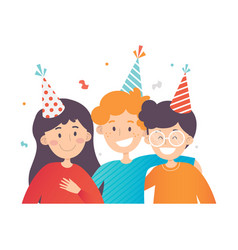 three happy kids celebrating birthday confetti in vector image