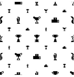Trophy icons pattern seamless white background vector