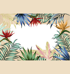 tropical frame banner abstract flowers leaves vector image