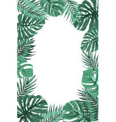 Tropical jungle palm monstera leaf frame portrait vector